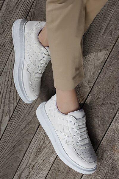 Kadın Beyaz Günlük Ortopedik Sneaker Ayakkabı