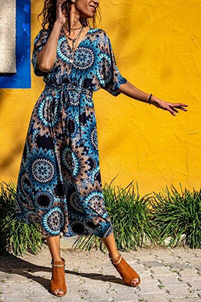 Kadın Mavi V Yaka Mandala Desen Beli Büzgülü Salaş Elbise GK-TD411