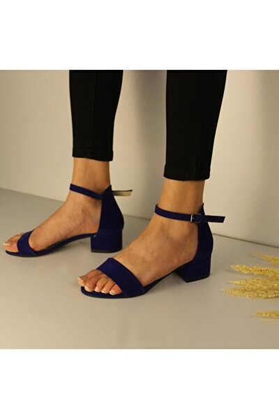 Jeune Tek Bant Bilekten Bağlı Düşük Topuklu Süet Ayakkabı
