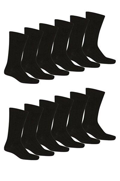 Erkek Siyah Pamuklu Soket Çorap 12'li