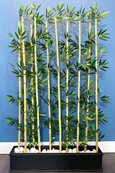Kumaş Yapraklı Ahşap Saksıda Bambu Seperatör (20x100x180cm)