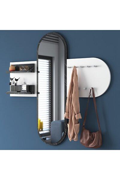Rani P3 Aynalı Duvar Askısı Boy Aynası Mermer Desenli Beyaz Vestiyer