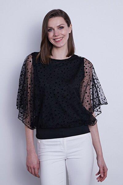 Kadın Organze Desenli Tül Detaylı Kayık Yaka Yarasa Kol Bluz-Siyah Puan