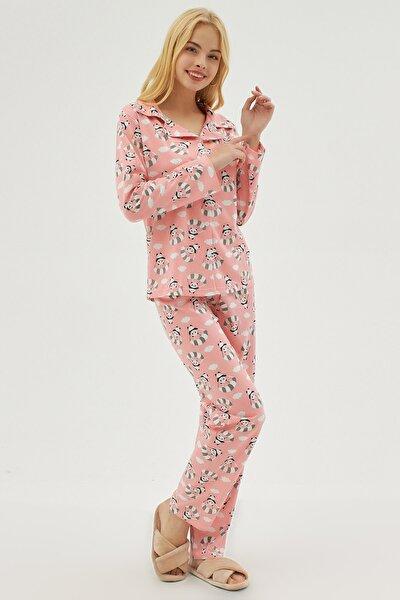 Kadın Pembe Desenli Gömlek Yaka Pijama Takımı P21s194-2410