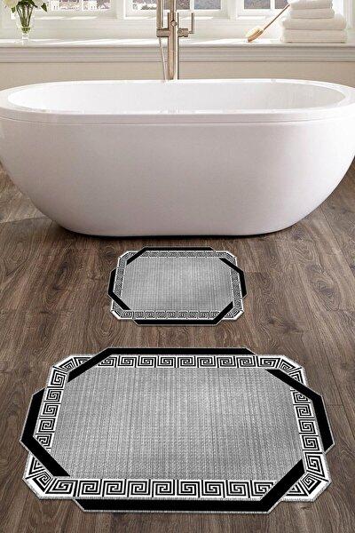 60x90 - 50x60 Etna Dijital Banyo Halısı Lazer Kesim Klozet Takımı 2'li Paspas Seti