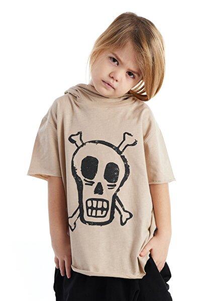 Erkek  Çocuk Mask Hoody Baskılı Tshirt Taş