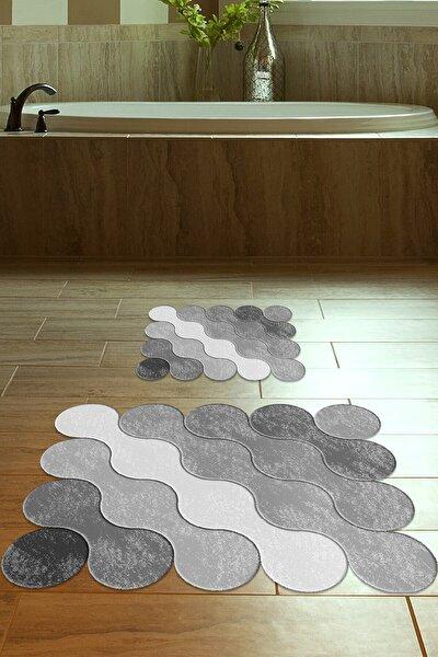 60x90 - 50x60 Grey Drop Dijital Banyo Halısı Lazer Kesim Klozet Takımı 2'li Paspas Seti