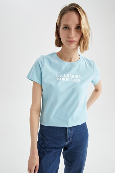 Kadın Turkuaz Slogan Baskılı Pamuklu Relax Fit Kısa Kollu Tişört U0856AZ21SPTR