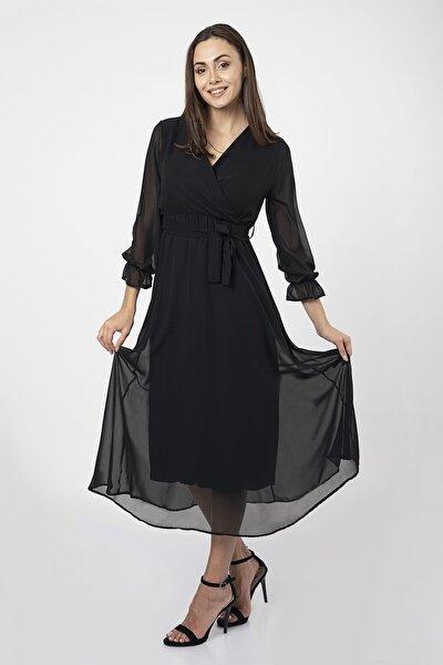 Kadın Siyah Astarlı Tül Detaylı Kruvaze Uzun Şifon Elbise