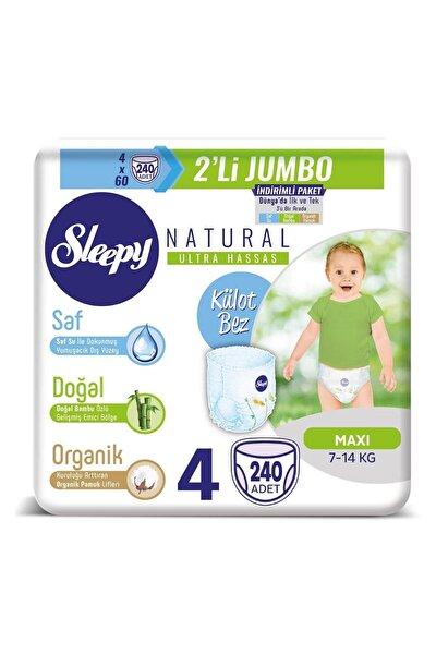 Natural Külot Bez 4 Beden Maxi 4x2'li Jumbo 240 Adet 7-14 Kg