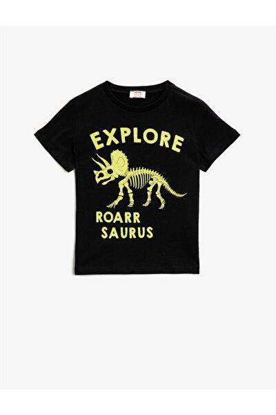 Erkek Çocuk Siyah Baskılı  Pamuklu Kisa Kollu Bisiklet Yaka T-Shirt