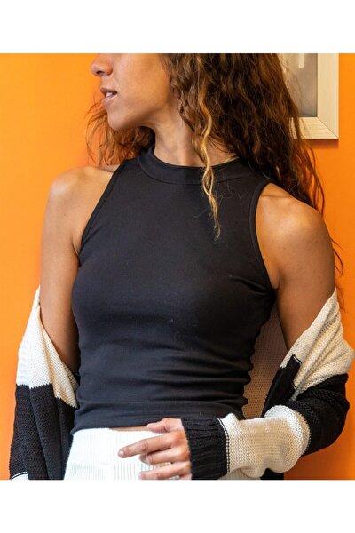 Kadın Siyah Fitilli Model Bisiklet Yaka Crop Top Kolsuz Kaşkorse T-Shirt