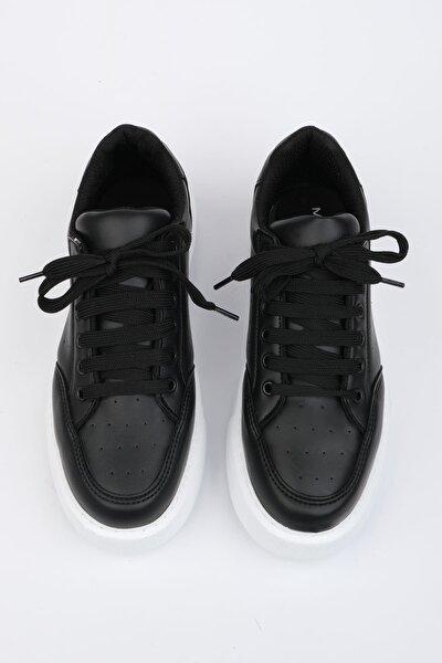 Kadın Siyah Kalın Taban Sneaker Ayakkabı Azin