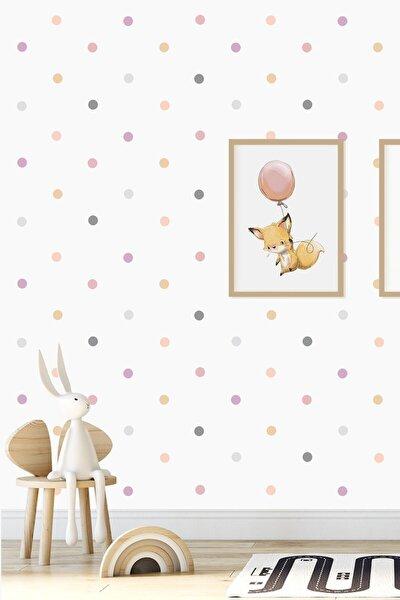 Pembe 204 Adet Candy Soft Renkli Yuvarlak Duvar Stickerı