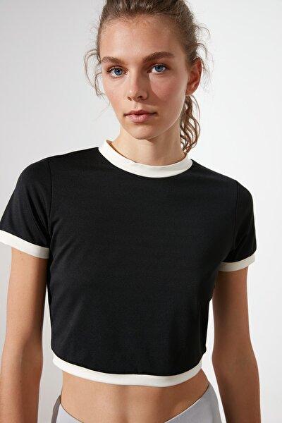 Siyah Crop Spor Bluz TWOSS21BZ0966