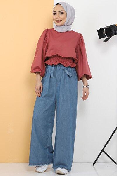 Kadın Beli Lastikli Bol Paça Pantolon