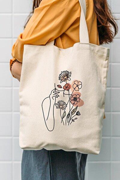 Kanvas Çiçek Kadın Baskılı Bez Çanta