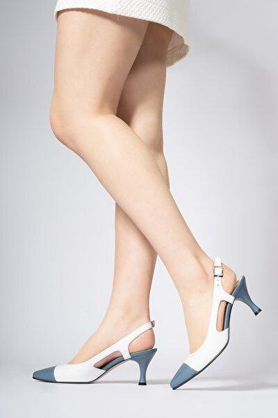 Kadın Beyaz Hakiki Deri Topuklu Ayakkabı Arkası Açık Kemerli Stiletto