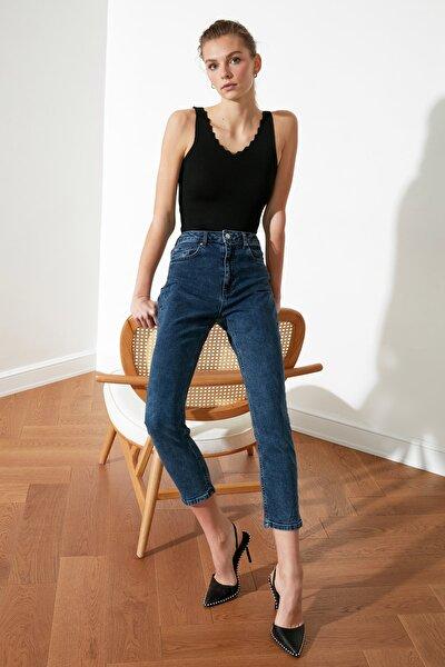 Lacivert  Yıkama Efektli Yüksek Bel Slim Fit Jeans TWOSS21JE0018