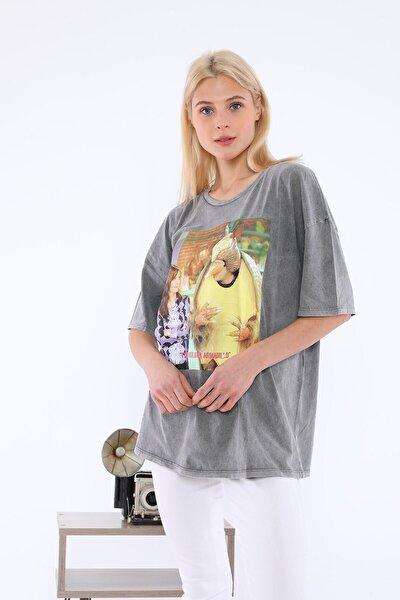 Kadın Gri Friends Baskılı T-shirt