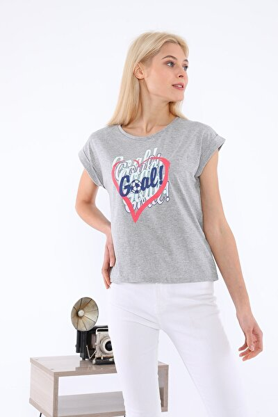 Kadın Gri Baskılı Tişört
