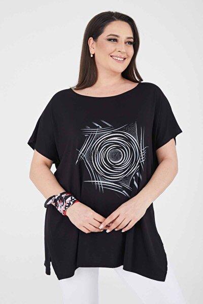 Büyük Beden Siyah Salaş Yuvarlak Baskı Simli T-shirt