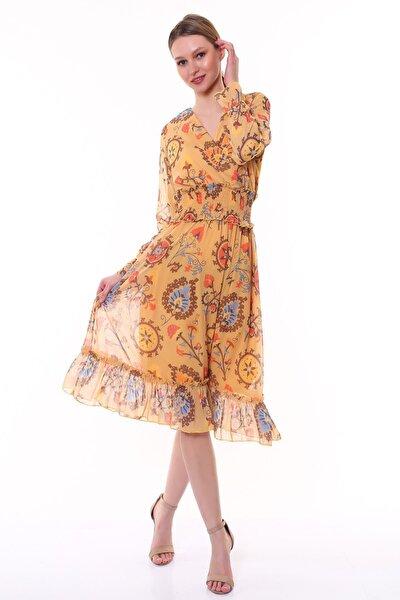 Kadın Sarı Renk Beli Lastikli Desenli Midi Boy Şifon Elbise