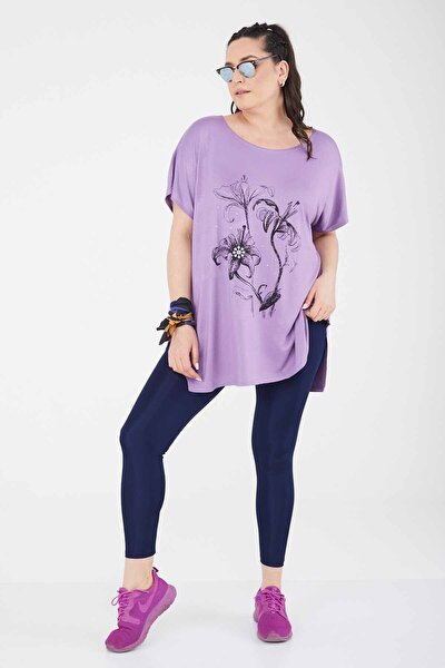 Büyük Beden Salaş Baskılı Penye T-shirt