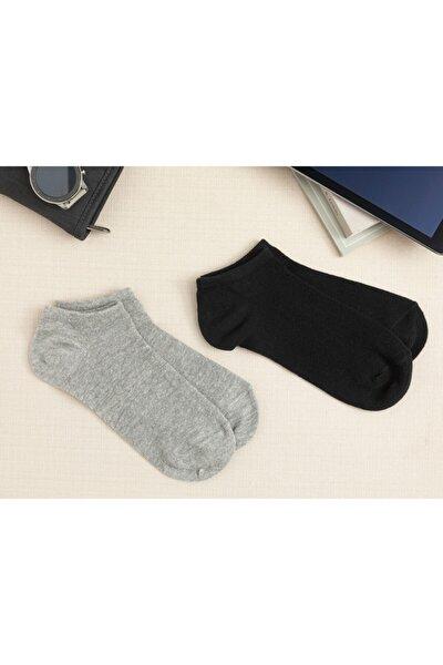 Melissa Pamuk 2'li Kadın Çorap Siyah- Gri