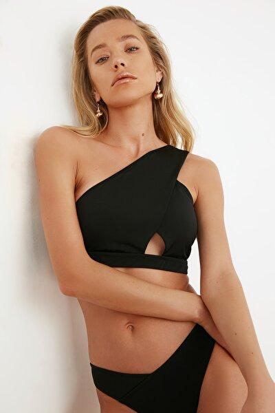 Siyah Tek Omuz  Bikini Üstü TBESS21BU0168