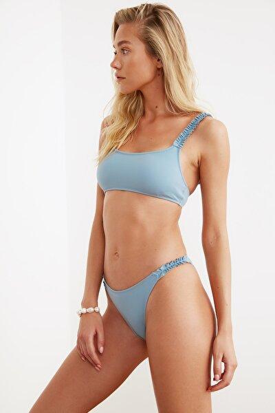 Mavi Fırfır Detaylı Detaylı  Bikini Altı TBESS21BA0137