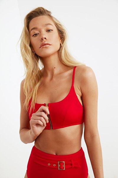 Kırmızı Fermuarlı Bikini Üstü TBESS20BU0266