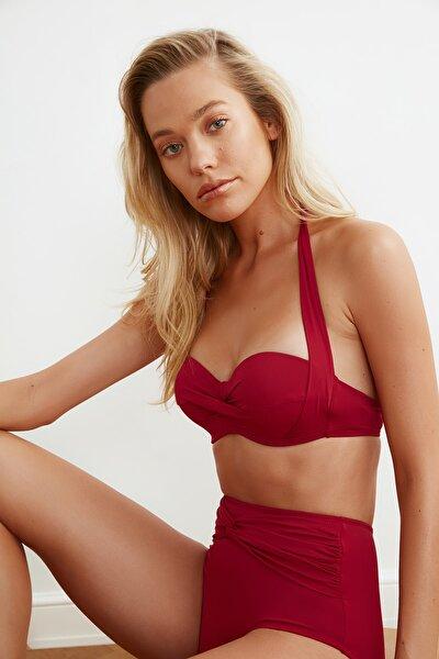 Bordo Alternatif Kullanımlı Bikini Üstü TBESS20BU0223