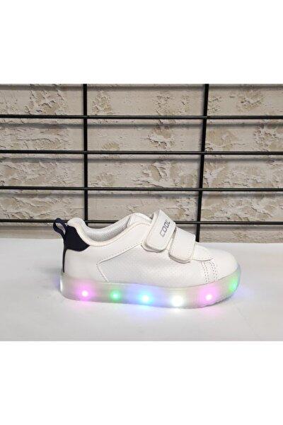 Unisex Çocuk Beyaz Işıklı Bantlı Spor Ayakkabı
