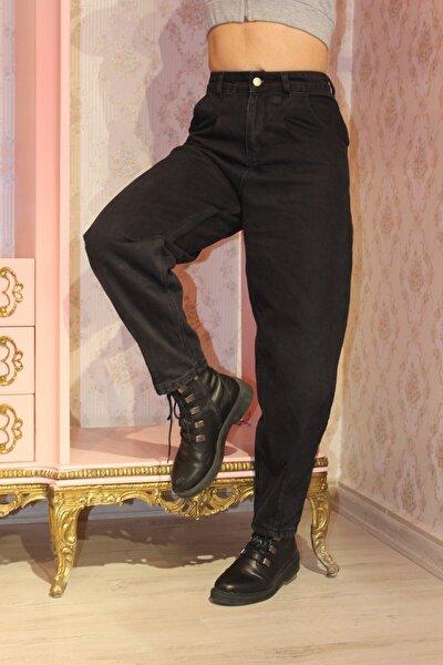 Kadın Siyah Önü Pileli Yüksek Bel Balon Jean Pantolon