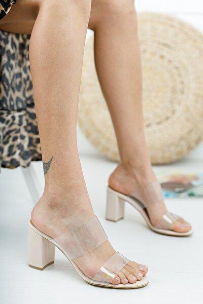 Ten Deri Cilt Şeffaf 8cm Kısa Topuklu Yuvarlak Burunlu Ayakkabı Terlik