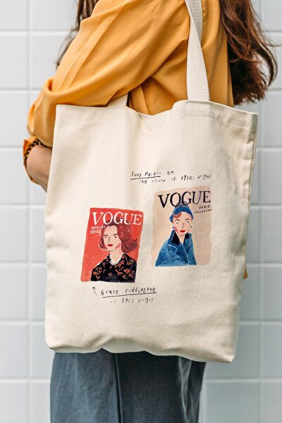 Kanvas Vogue Baskılı Bez Çanta