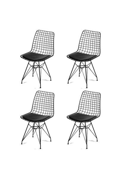 4'lü Siyah Tel Sandalye, Ofis Sandalyesi, Mutfak Sandalyesi, Bahçe Sandalyesi, Kafe Sandalyesi