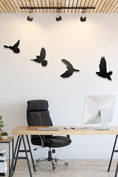 Dekoratif Modern Dörtlü Kuş Duvar Süsü Duvar Dekoru