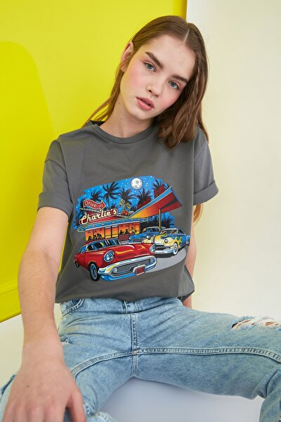 Gri Baskılı Boyfriend Örme T-Shirt TWOSS21TS0866