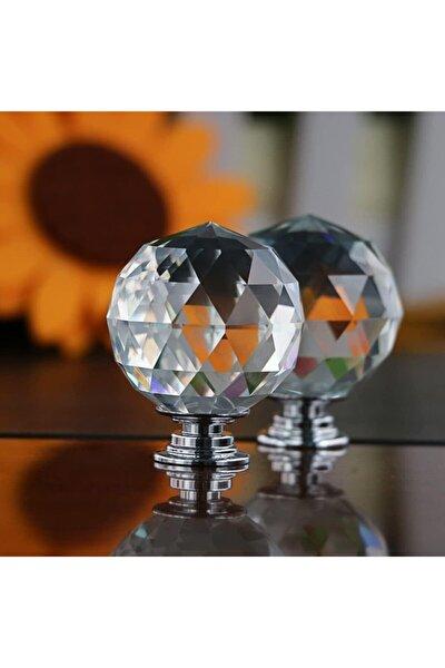 Kristal Düğme 30mm Çapında Büyük Krom Çekmece Dolap Mobilya Kulpları