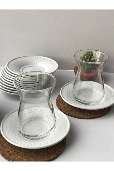 Metal Beyaz Renkli 6'lı Çay Tabağı Seti