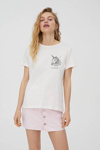 Beyaz Unicorn T-shirt - %100 Ekolojik Olarak Yetiştirilmiş Pamuklu
