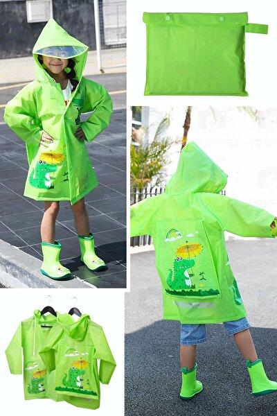 Hayvan Figürlü Kapüşonlu Çocuk Yağmurluk Çantalı Yeşil