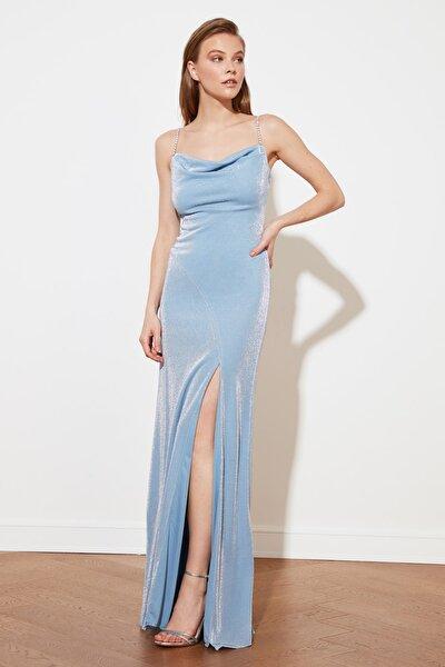 Mavi Askı Detaylı Abiye & Mezuniyet Elbisesi TPRSS19UT0102