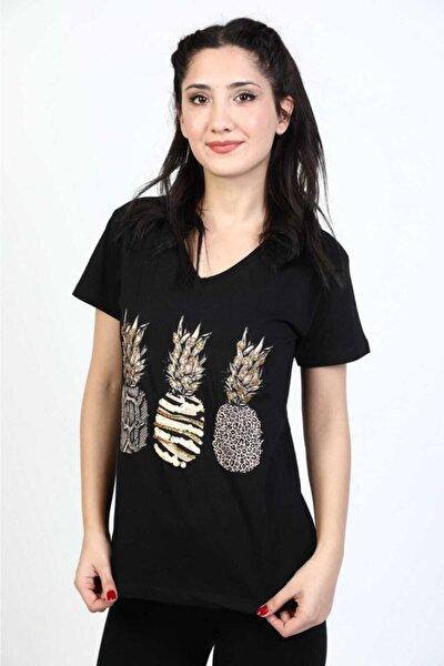 Kadın Pullu Ananas Desenli Siyah T-shirt