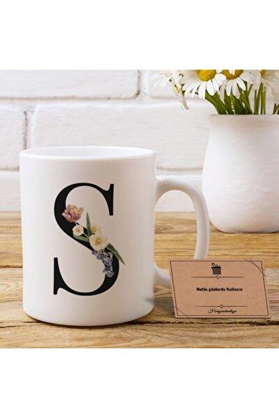 Çiçek Tasarımlı S Harfli Kupa Bardak (2 Tarafı Baskılı)