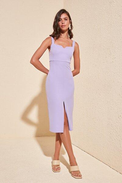 Lila Yırtmaçlı Elbise TWOSS19BB0216