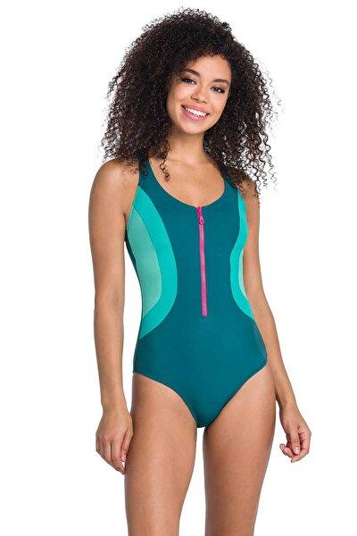 Kadın Petrol Yeşili Yüzücü Mayo B0119Y0006