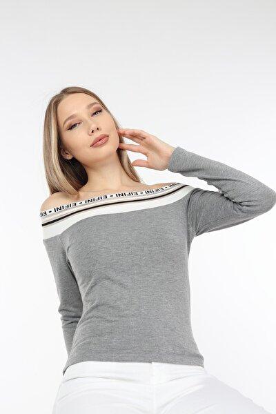 Kadın Yakası Triko Detaylı Fit Bluz